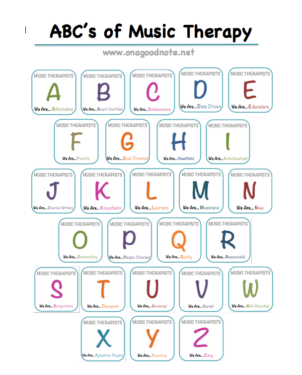 ABC's of Music Therapy - Free Printable