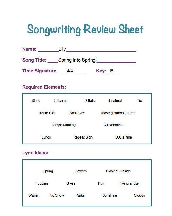 Songwriting Review Example